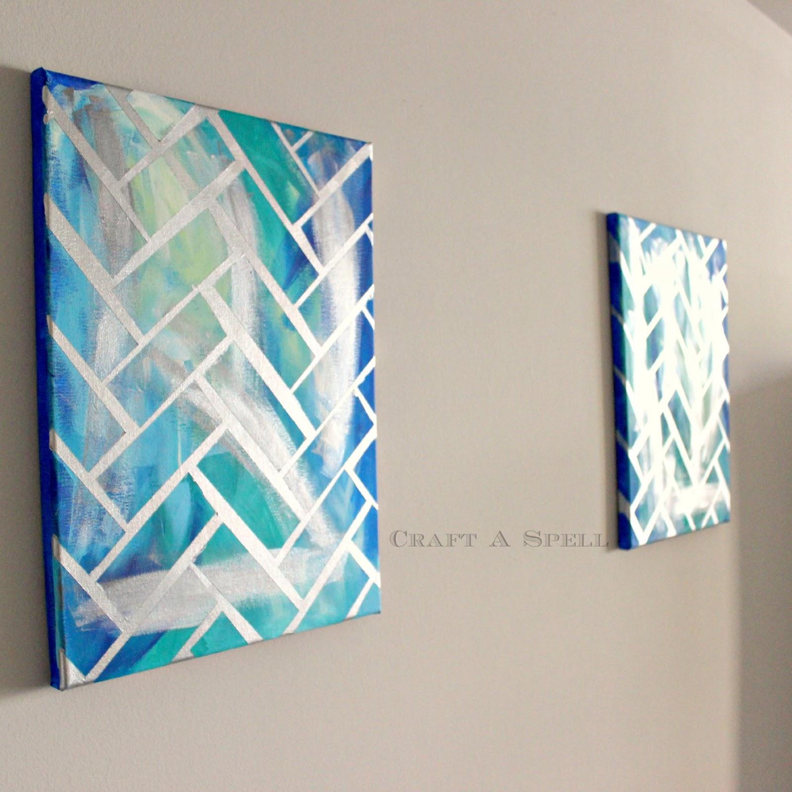 Craft a spell diy herringbone canvas art for Multi canvas art diy