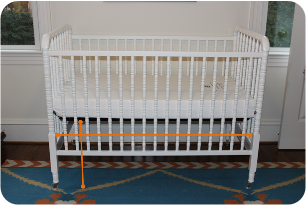Measure from the floor to the bottom of the mattress. You will also need to  measure the width between the end crib posts. - The Pink Elephant: DIY Crib Skirt (no Sewing!)