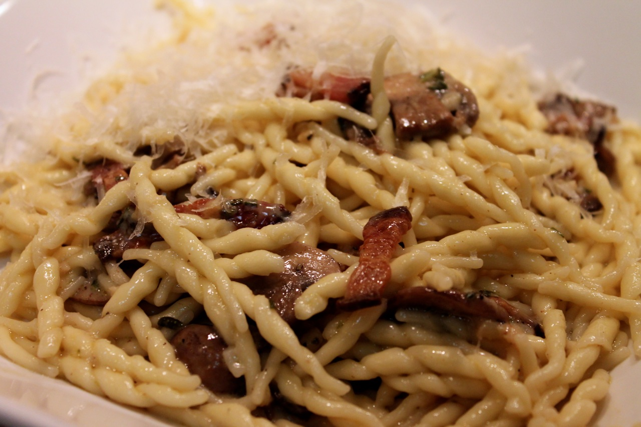 Cook In / Dine Out: Smoky Trofie with Bacon and Mushrooms