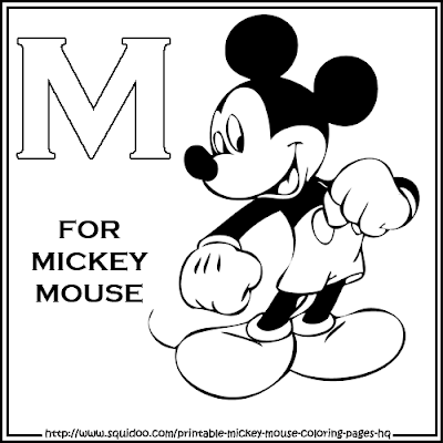 Alphabet M for Mickey Mouse coloring page