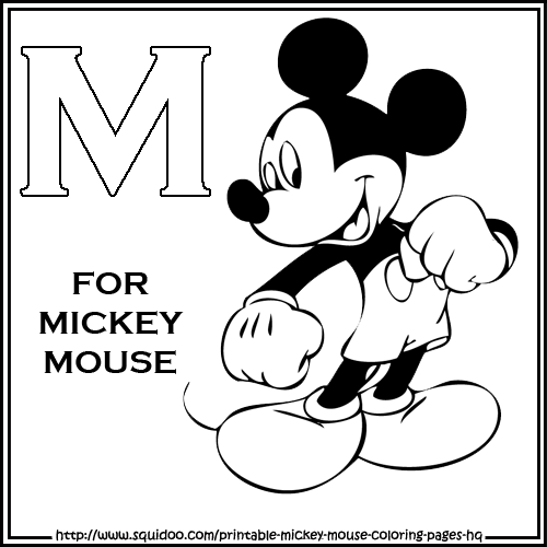Mickey Mouse Alphabet Coloring Pages