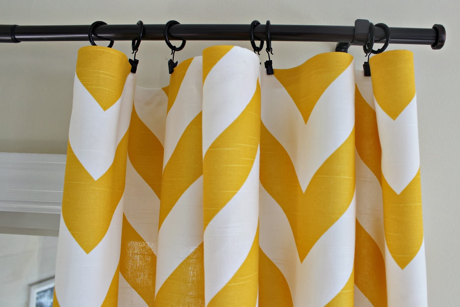 Yellow chevron kitchen curtains - I Used My Iron To Fold Down The Edges And Then Put Heat N Bond Inside The Folds To Hem The Top And Both Sides Of Each Panel