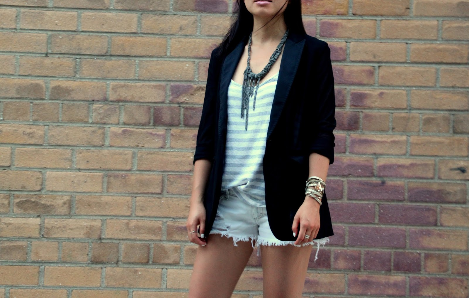 White denim distressed shorts Splendid tank Rag and Bone 42nd st blazer