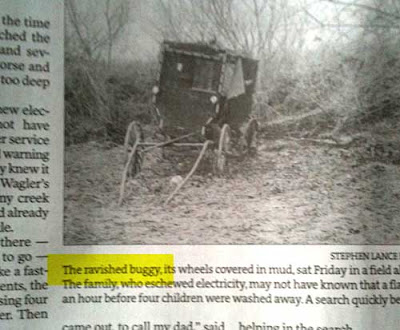 Newspaper photo of an Amish buggy with caption reading The ravished buggy...