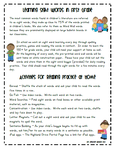 activities Letter for Parent parents sight word Sight  Word