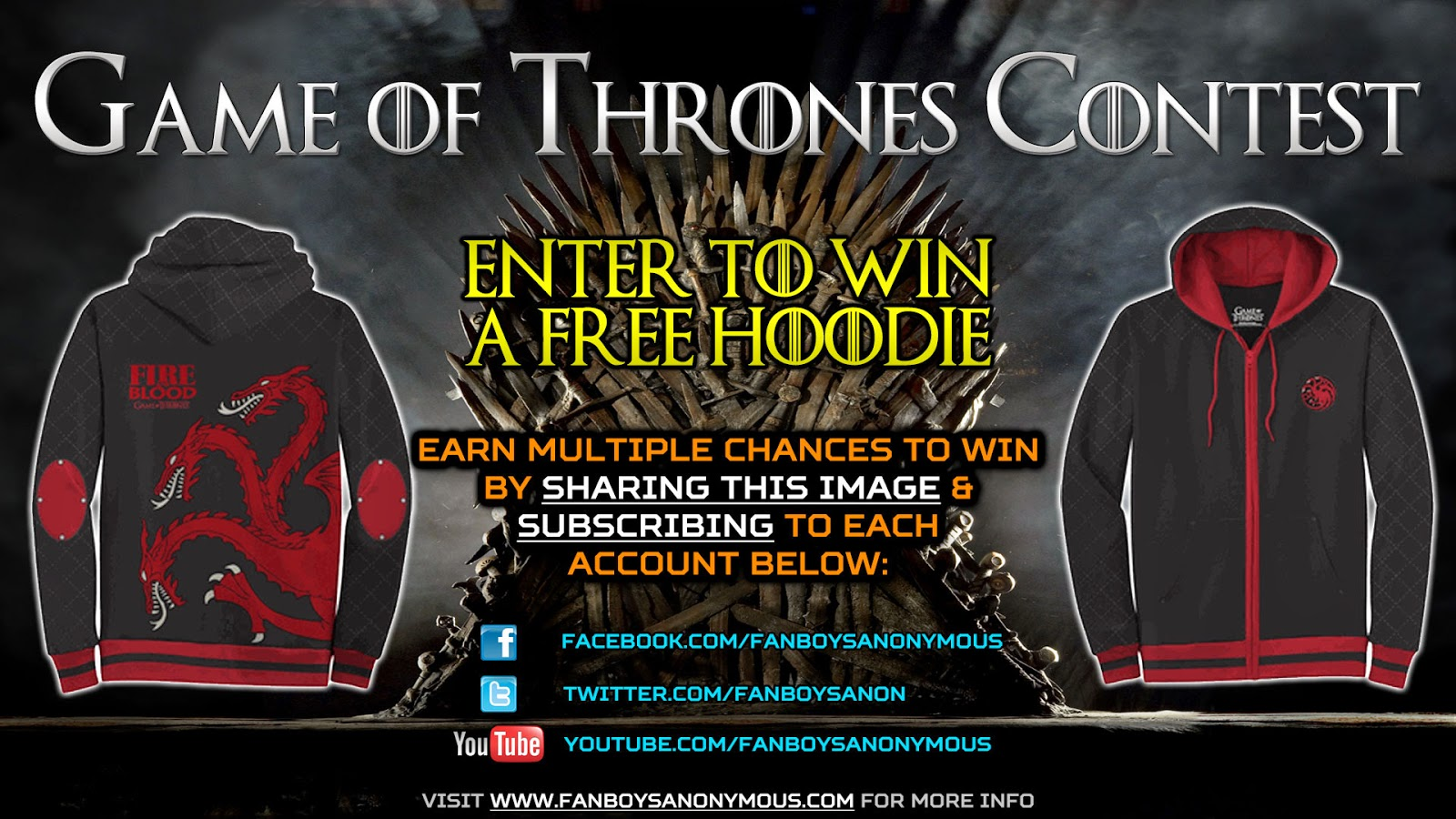 win a free Game of Thrones hoodie by subscribing to Fanboys Anonymous