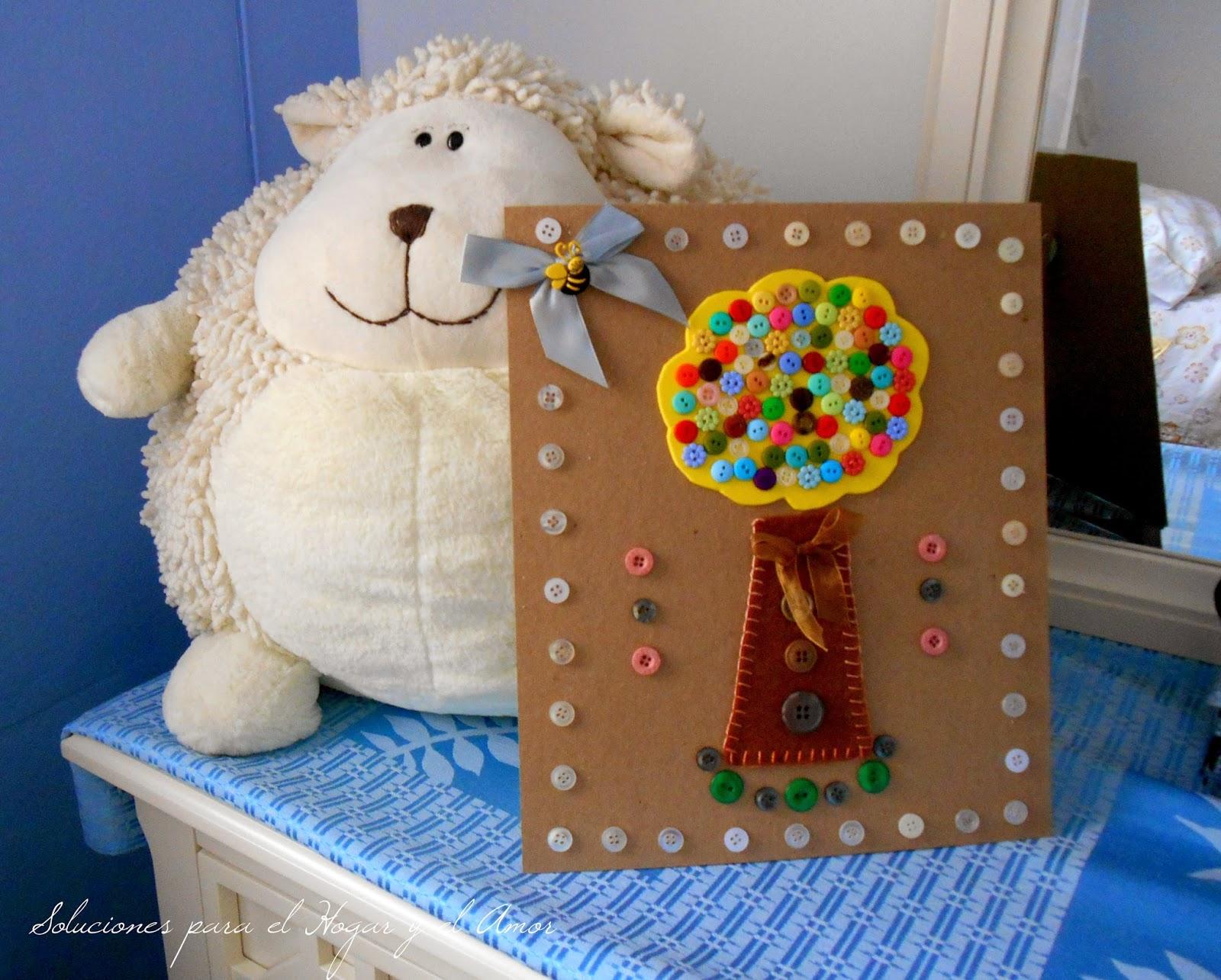 DIY con  Botones, cuadro hecho con botones, árbol hecho con botones