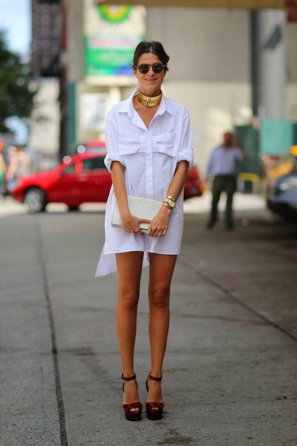 roupas da moda, chemise, vestido camisa branco, moda feminina, clutch branca e sandália