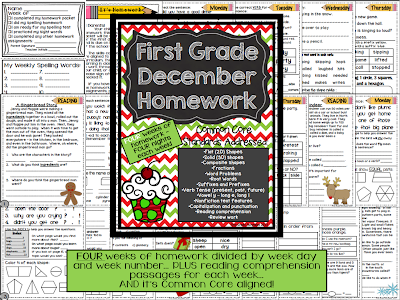 http://www.teacherspayteachers.com/Product/First-Grade-Common-Core-Homework-December-990265