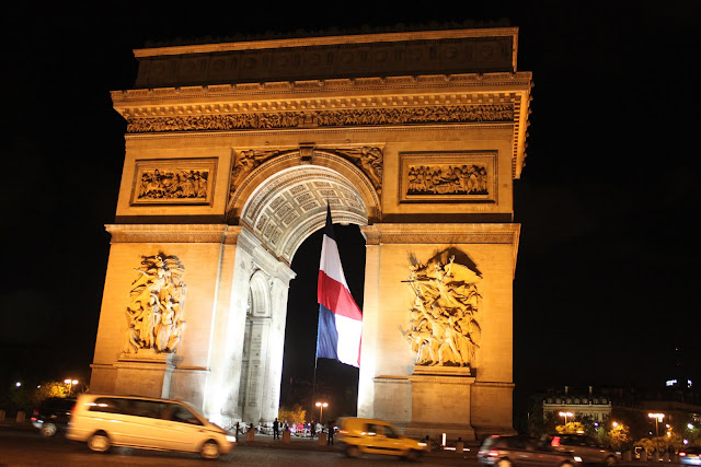 A close up look of Arc de Triomphe in Paris, France