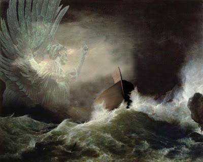 el arca de noe en el diluvio universal con un angel mirando