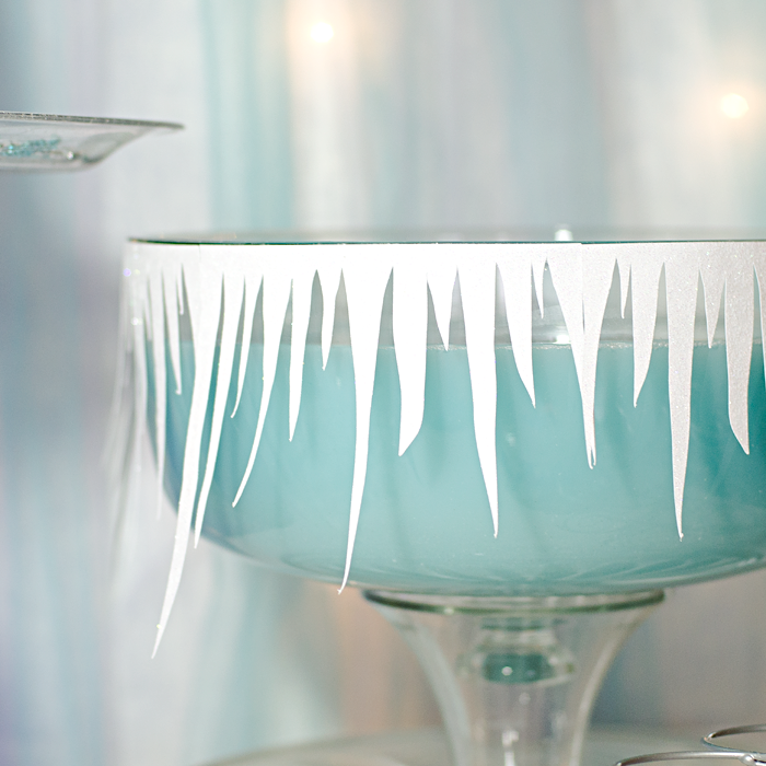 Frozen inspired punch bowl party decorations using a Silhouette Portrait and SVG cut files from The Lilypad BYOC December 2014 release