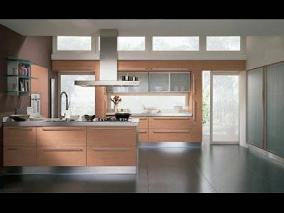 Ahşap renkli çok şık hazır mutfaklar, sürgülü erzak dolabı