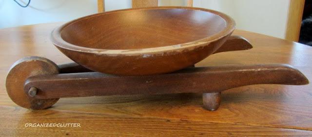 Vintage Wooden Bowl Wheelbarrow
