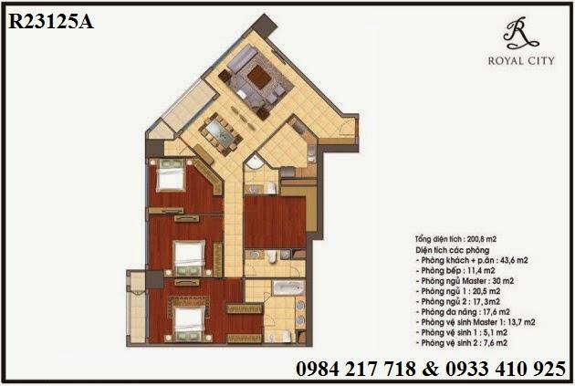 Mua bán chung cư Royal City căn hộ R23125A diện tích 200.8 m2 bán giá tốt 8 tỷ 413 triệu
