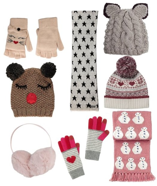 collage of cute winter weather accessories