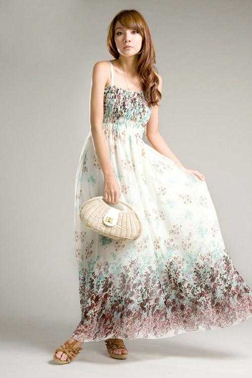 Beautiful and elegant long summer dress with white color of dress made