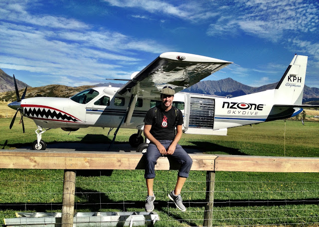 Sat by the Nzone skydive plane Queenstown, New Zealand