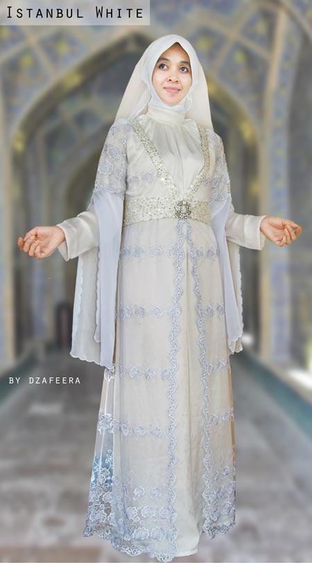 Koleksi Gambar Baju Pengantin Muslim Modern Putih Elegan