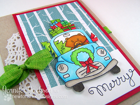 Christmas Card by Jennifer Jackson with a Bear in Car with Gifts | Stamps by Newton's Nook designs