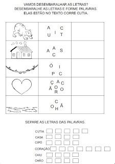 Atividades para alfabetização - Desembaralhe as letras e forme palavras 2.