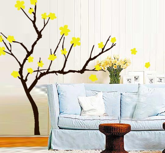 Modern Vinyl Wall Art Decals Wall Stickers Wall Quotes How To - Yellow flower wall decals