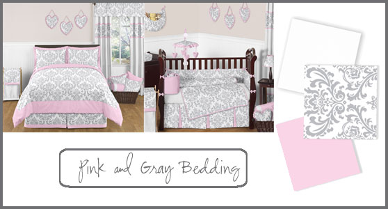 Pink and Gray Girls Bedding