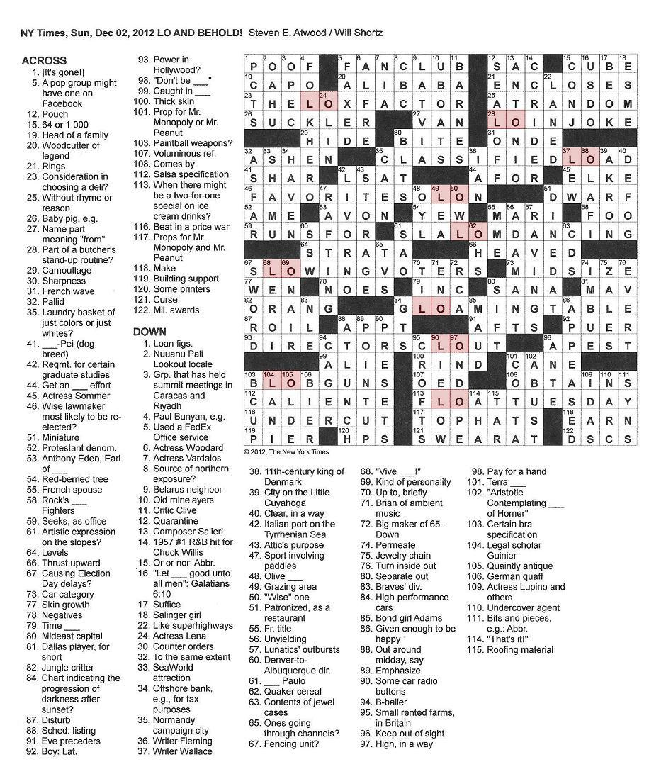 The New York Times Crossword In Gothic 12 02 12 Lo And Behold