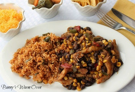 Mexican Chicken and Beans Served with Spicy Tomato Rice