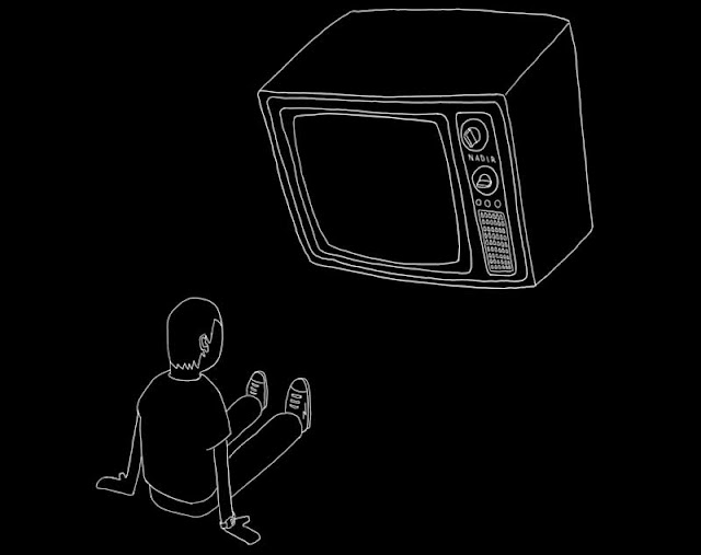 A television hovers over a boy