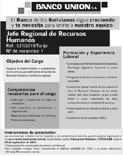 Banco Unión precisa de Jefe Regional de Recursos Humanos