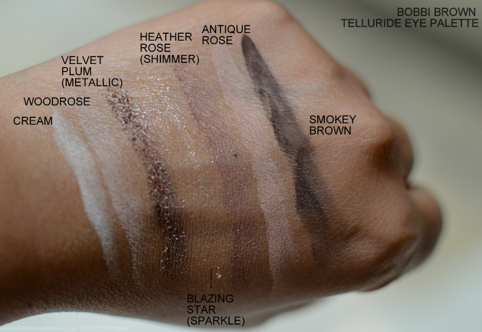Bobbi Brown Telluride Eyeshadow Palette Fall 2015 Makeup Collection Swatches - Cream Woodrose Velvet Plum Heather Antique Rose Smokey Brown