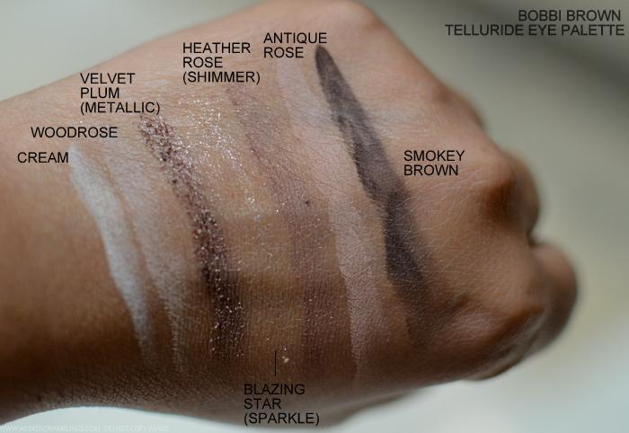 Bobbi Brown Telluride Eyeshadow Palette Fall 2015 Makeup Collection Swatches - Cream Woodrose Velvet Plum Heather Antique Rose Smokey Brown