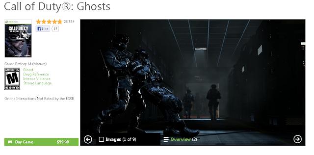 El juego Call of Duty: Ghosts cuesta 59,99$ en el Bazar de USA