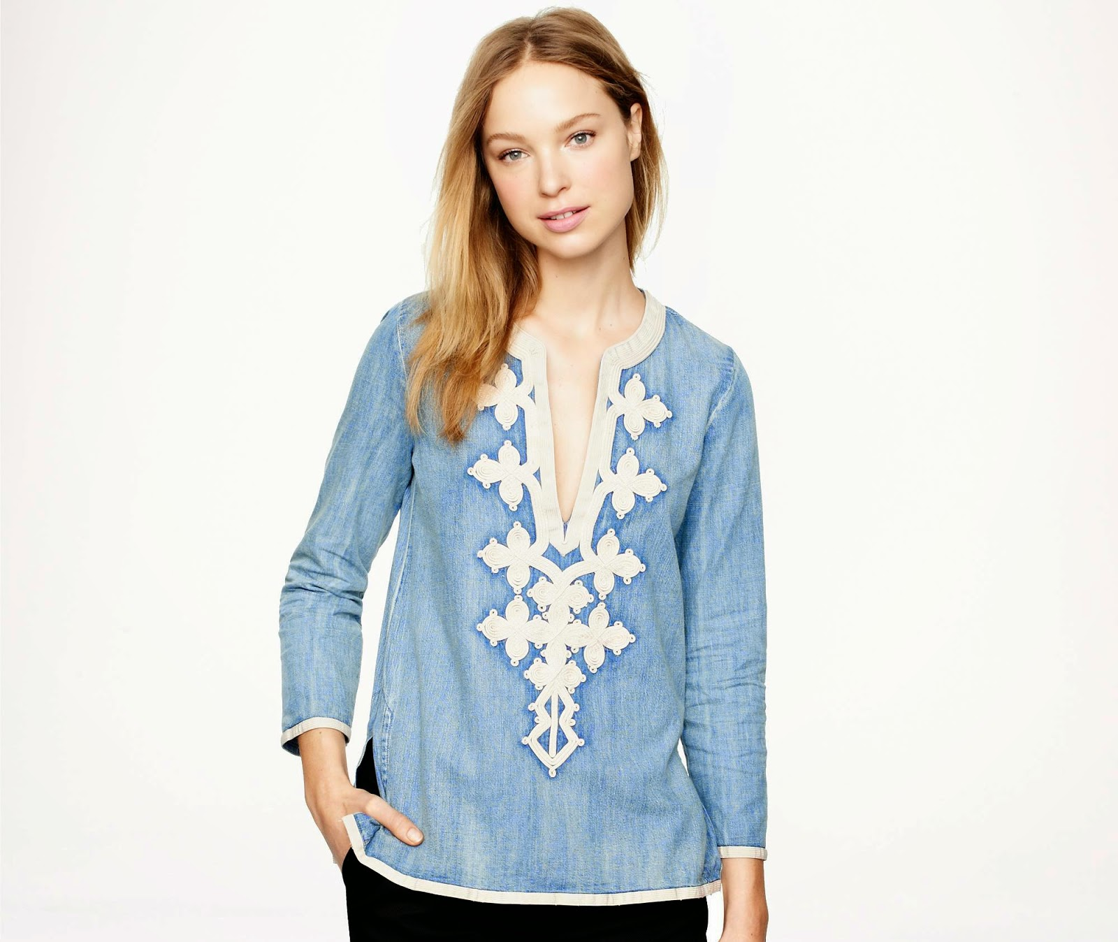 j crew embroidered tunic in chambray