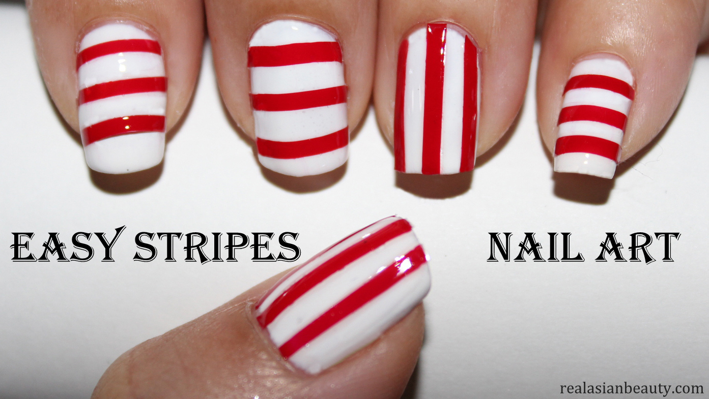 Drawing Straight Lines With Brush In Photo : Real asian beauty: easy stripes no brush nail art