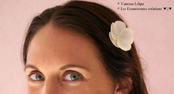 Vanessa Lekpa pics à chignon et accessoire de coiffure pour mariée , barrette et pics à chignon avec fleur en satin ivoire et chamapagne