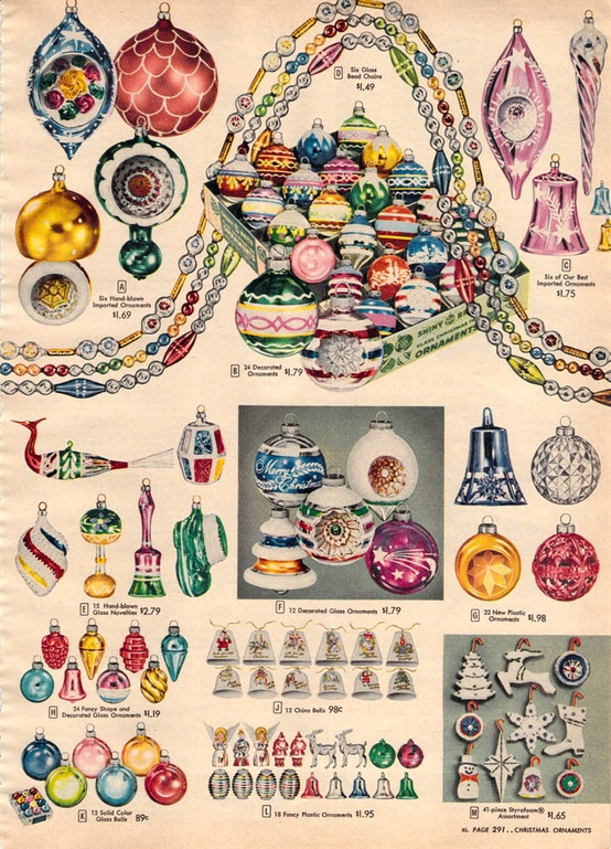 a sears catalog ad from the 1950s for shiny brite ornaments - Vintage Shiny Brite Christmas Ornaments