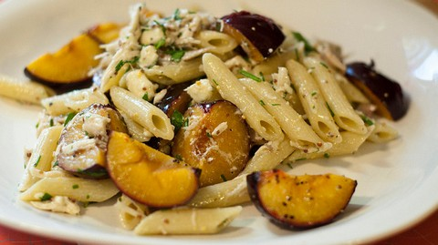 Plum Pasta Salad with Blue Cheese and Chives