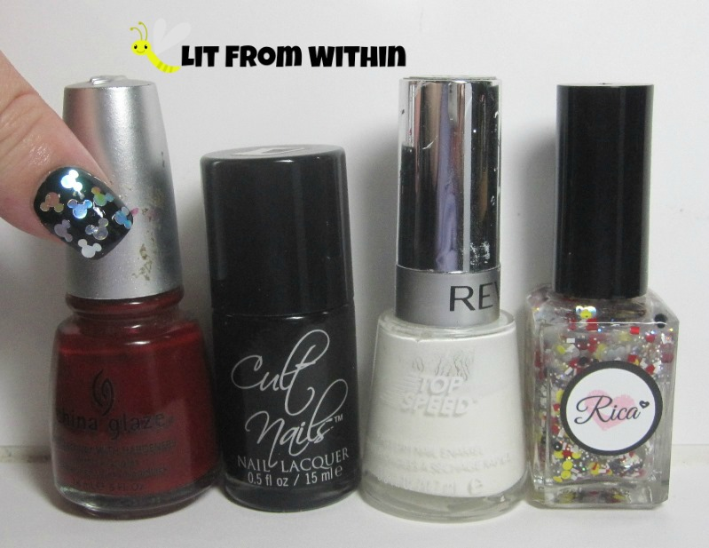 Bottle shot:  China Glaze Phat Santa, Cult Nails Nevermore, Revlon Spirit, and Rica Real Girls Wear Mickey Ears