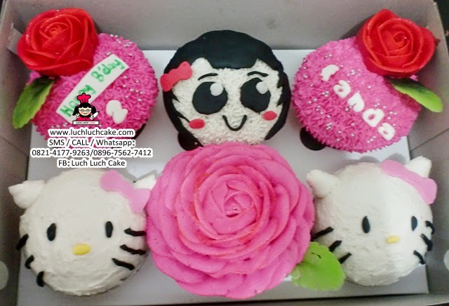 Cupcake Ulang Tahun Hello Kitty Buttercream Daerah Surabaya - Sidoarjo