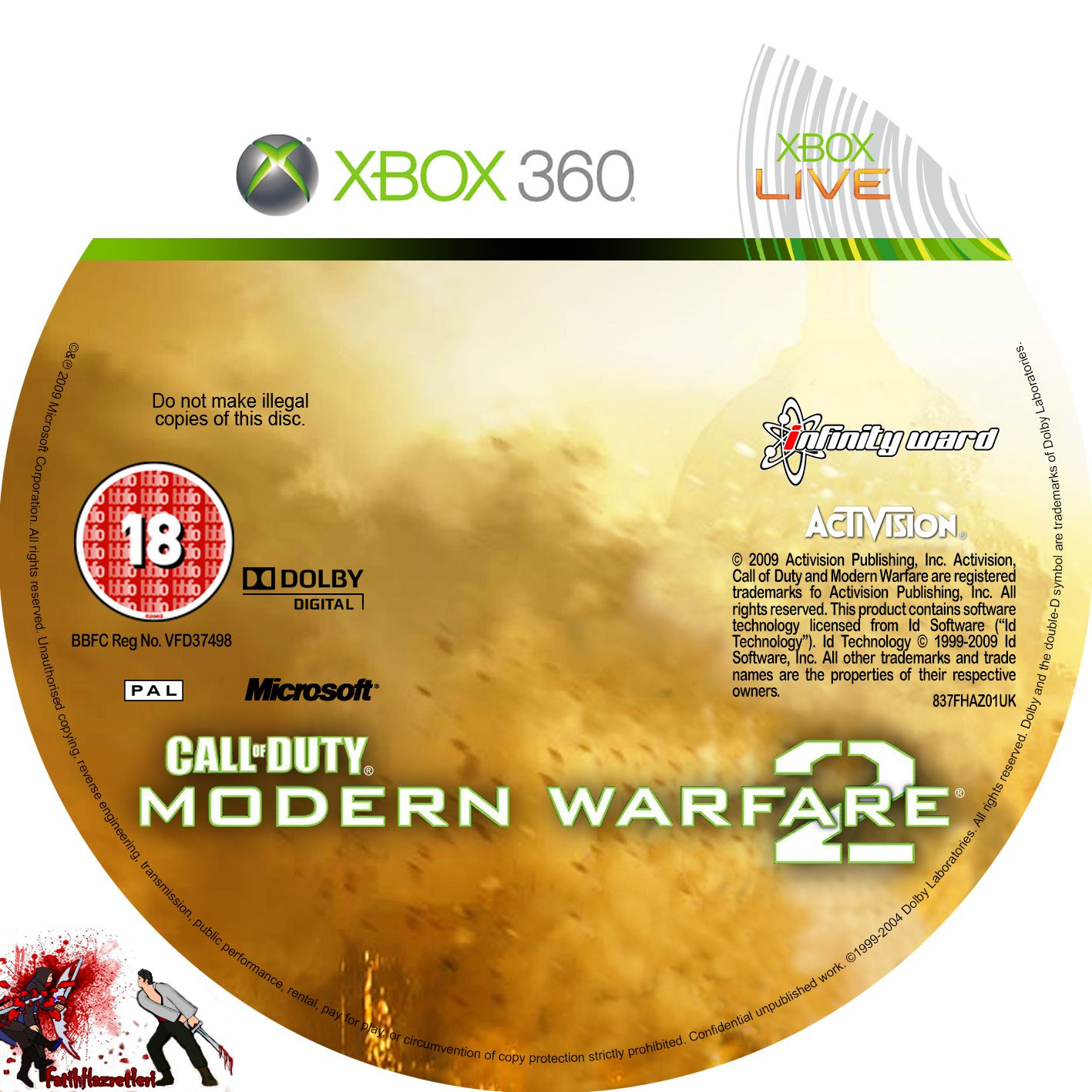 Label Call Of Duty Modern Warfare 2 Xbox 360