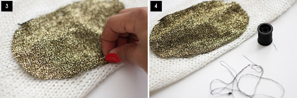 DIY golden elbow patches