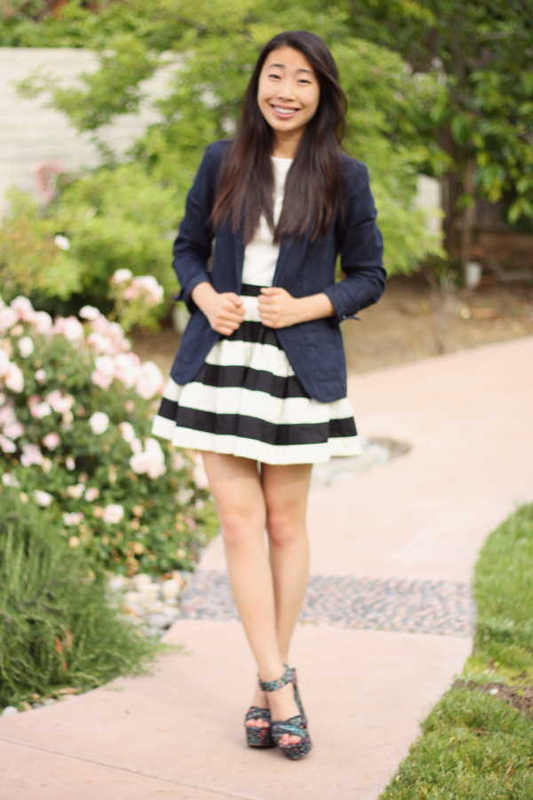 outfit with stripe skirt