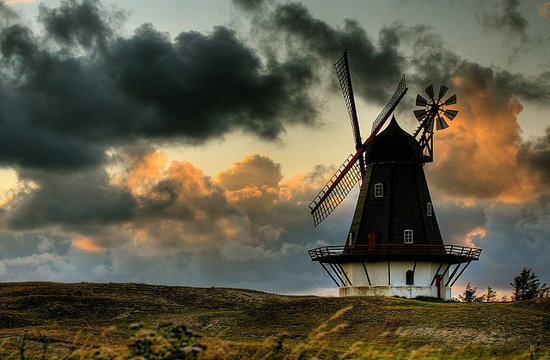 The old mill in Sønderho, Fanø, by sunset.