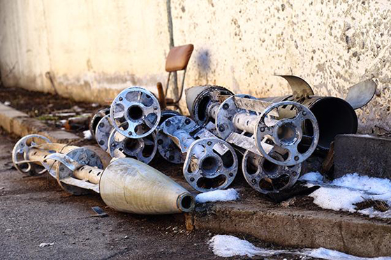 Remnants of Uragan cluster munition rockets collected by rebel fighters after attacks on Starobesheve, Ukraine on February 6 and 7. © 2015 Human Rights Watch