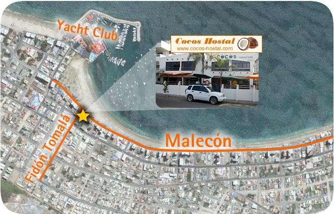 como llegar al Hostal Cocos Hoteles en Salinas buenos precios