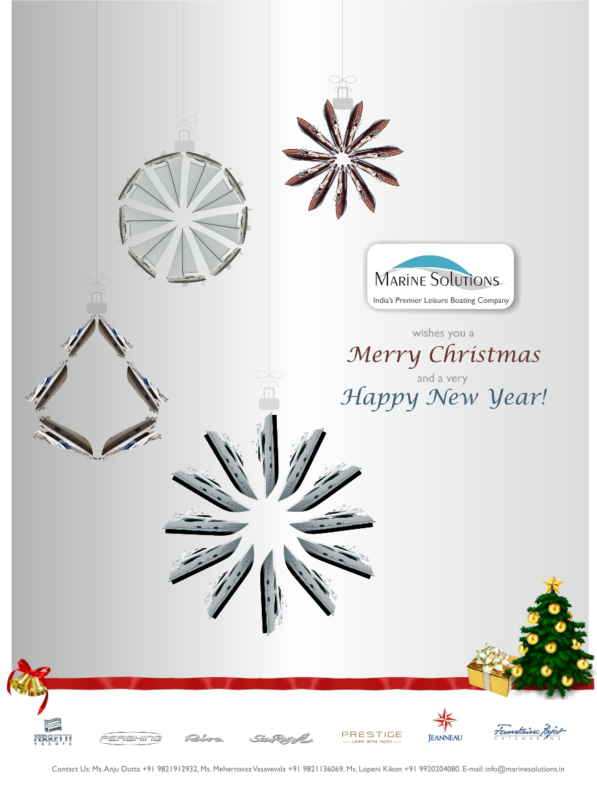 the following christmas new year greetings was designed for marine solutions a premier boating company in mumbai india it can be sent out as a card and