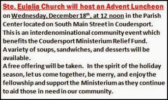12-18 Advent Luncheon At St. Eulalia