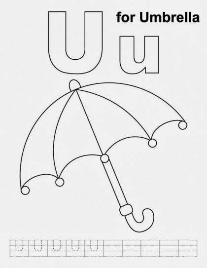 printable Alphabet Coloring Pages Umbrella
